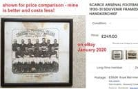 1931 Arsenal commemorative silk handkerchief Cup Winners BARGAIN - lesser on eBay for £249!